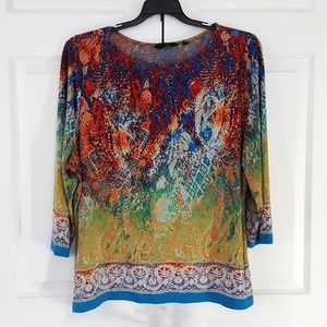 Women's Top Plus Size Floral Print Stretch Casual